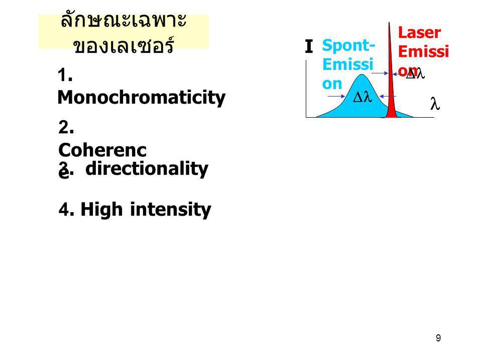 9 ลักษณะเฉพาะ ของเลเซอร์ 1. Monochromaticity 2. Coherenc e 3. directionality 4. High intensity Laser Emissi on Spont- Emissi on I  
