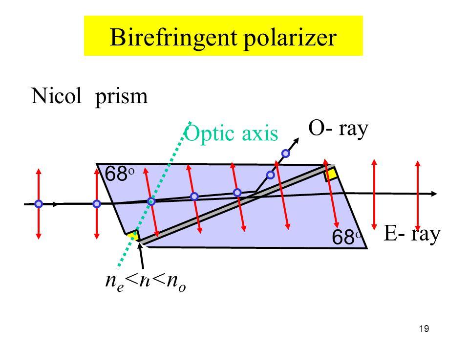19 Birefringent polarizer Nicol prism O- ray E- ray n e <n<n o 68 o Optic axis