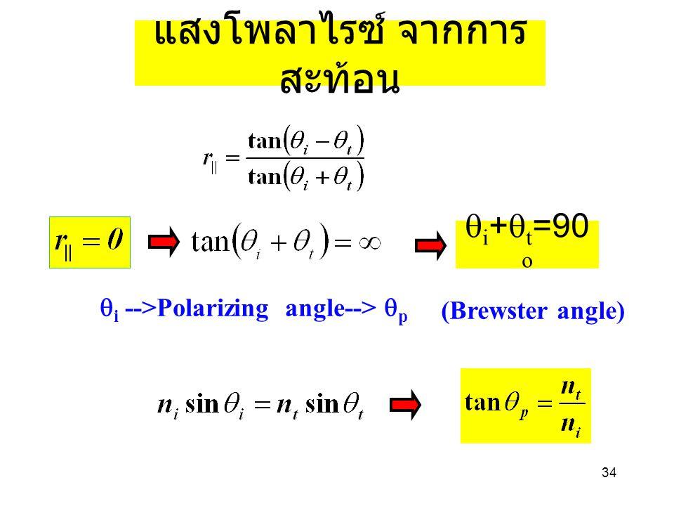 34 แสงโพลาไรซ์ จากการ สะท้อน  i +  t =90 o  i -->Polarizing angle-->  p (Brewster angle)