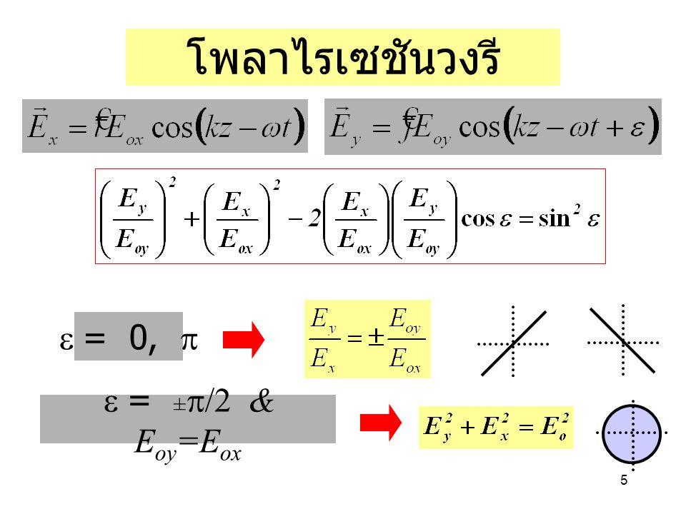 5 โพลาไรเซชันวงรี  = ±  & E oy =E ox  = 0, 
