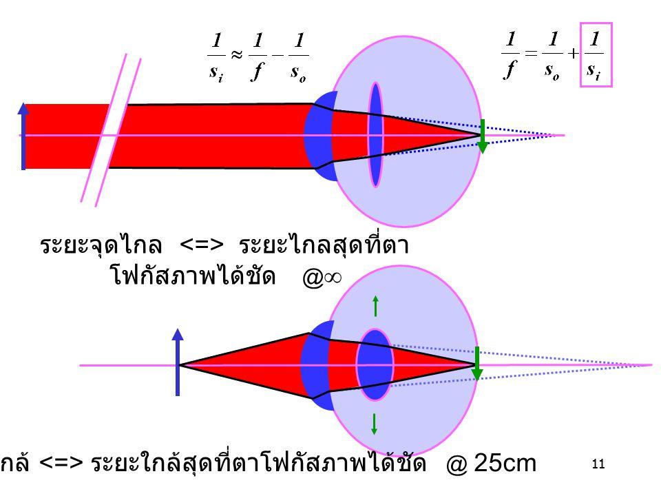 11 ระยะจุดใกล้ ระยะใกล้สุดที่ตาโฟกัสภาพได้ชัด  25cm ระยะจุดไกล ระยะไกลสุดที่ตา โฟกัสภาพได้ชัด  