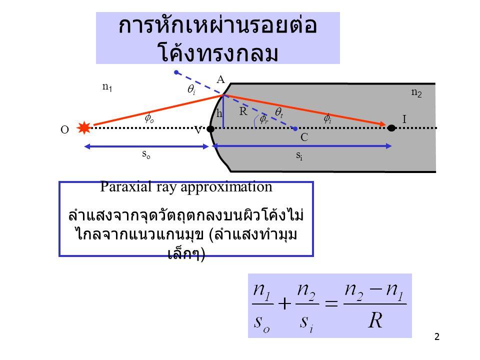 22 O A n1n1 soso sisi h R rr n2n2 ii tt oo ii I C V การหักเหผ่านรอยต่อ โค้งทรงกลม Paraxial ray approximation ลำแสงจากจุดวัตถุตกลงบนผิวโค้งไม