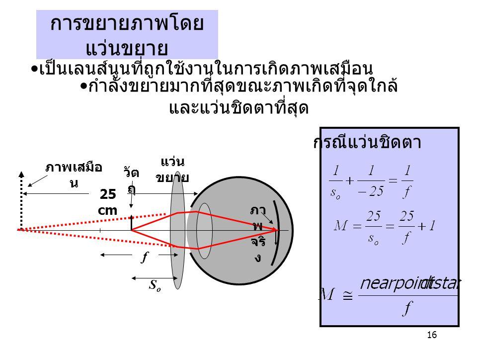 16 การขยายภาพโดย แว่นขยาย SoSo 25 cm f แว่น ขยาย วัต ถุ ภาพเสมือ น ภา พ จริ ง เป็นเลนส์นูนที่ถูกใช้งานในการเกิดภาพเสมือน กำลังขยายมากที่สุดขณะภาพเกิดที่จุดใกล้ และแว่นชิดตาที่สุด กรณีแว่นชิดตา