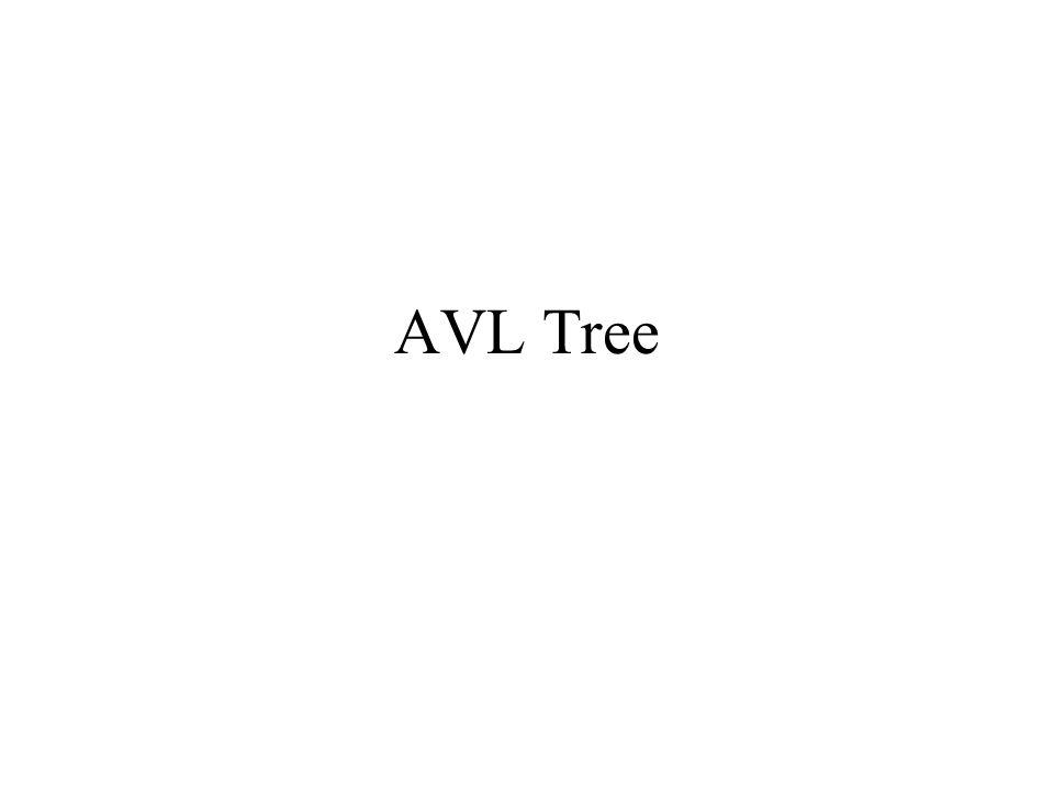 เป็น binary search tree ที่มี สำหรับแต่ละโนด – ความสูงของ left กับ right subtree ต่างกันได้อย่างมากแค่ 1 – ถ้า tree เป็น empty tree เราให้ height เป็น -1 ความสูงของ AVL tree จะเป็น log N – ค่าจริงคือ 1.44log(N+2)-.328 เพราะว่าความสูงของ left กับ right subtree ต่างกันได้ อย่างมากแค่ 1 – จำนวนโนดที่น้อยที่สุดของต้นไม้ที่มีความสูง h, s(h) = s(h- 1)+s(h-2)+1 เมื่อ h=0, s(h) =1 เมื่อ h=1, s(h) =2 – คล้าย fibonacci