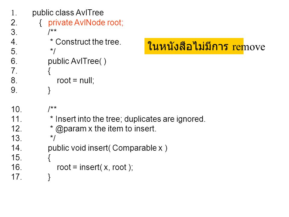 1. public class AvlTree 2. { private AvlNode root; 3. /** 4. * Construct the tree. 5. */ 6. public AvlTree( ) 7. { 8. root = null; 9. } 10. /** 11. *