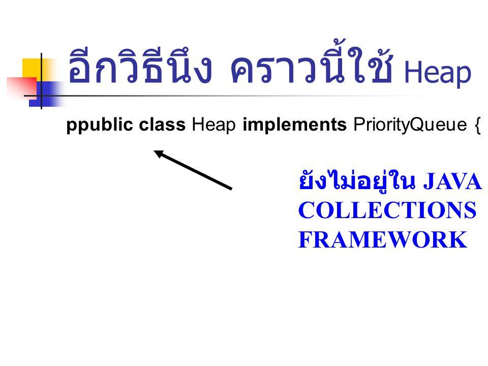 อีกวิธีนึง คราวนี้ใช้ Heap ppublic class Heap implements PriorityQueue { ยังไม่อยู่ใน JAVA COLLECTIONS FRAMEWORK