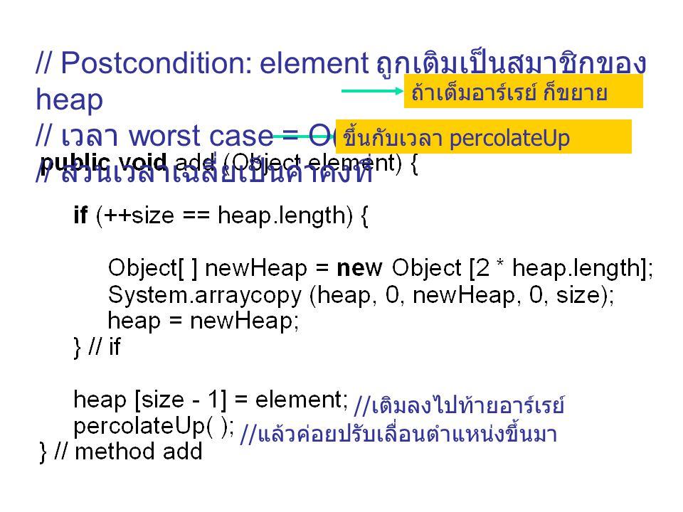 ถ้าเต็มอาร์เรย์ ก็ขยาย //เติมลงไปท้ายอาร์เรย์ //แล้วค่อยปรับเลื่อนตำแหน่งขึ้นมา // Postcondition: element ถูกเติมเป็นสมาชิกของ heap // เวลา worst case
