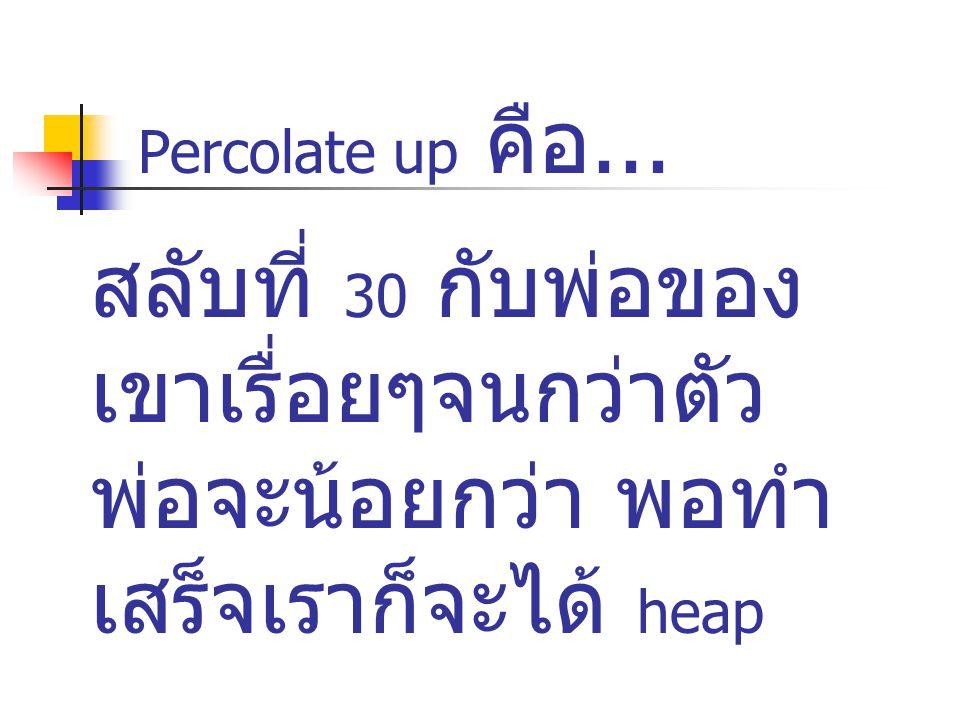Percolate up คือ... สลับที่ 30 กับพ่อของ เขาเรื่อยๆจนกว่าตัว พ่อจะน้อยกว่า พอทำ เสร็จเราก็จะได้ heap
