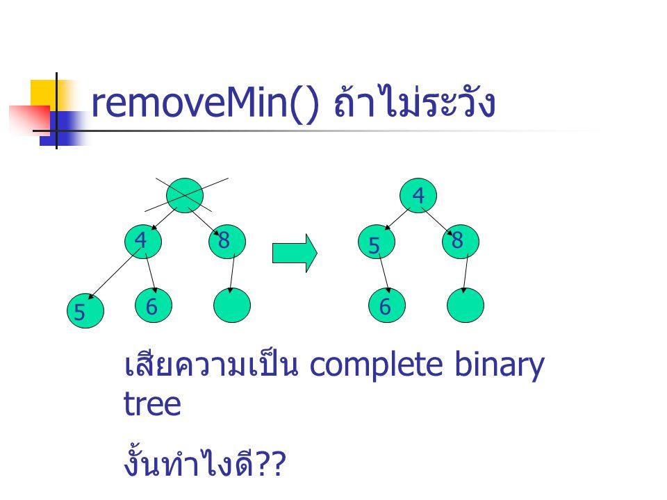 removeMin() ถ้าไม่ระวัง 4 6 5 8 4 6 8 5 เสียความเป็น complete binary tree งั้นทำไงดี??