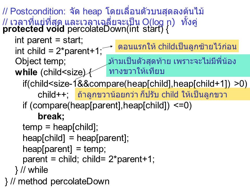 protected void percolateDown(int start) { int parent = start; int child = 2*parent+1; Object temp; while (child<size) { if(child 0) child++; if (compare(heap[parent],heap[child]) <=0) break; temp = heap[child]; heap[child] = heap[parent]; heap[parent] = temp; parent = child; child= 2*parent+1; } // while } // method percolateDown ถ้าลูกขวาน้อยกว่า ก็ปรับ child ให้เป็นลูกขวา ตอนแรกให้ childเป็นลูกซ้ายไว้ก่อน ห้ามเป็นตัวสุดท้าย เพราะจะไม่มีพี่น้อง ทางขวาให้เทียบ // Postcondition: จัด heap โดยเลื่อนตัวบนสุดลงต้นไม้ // เวลาที่แย่ที่สุด และเวลาเฉลี่ยจะเป็น O(log n) ทั้งคู่