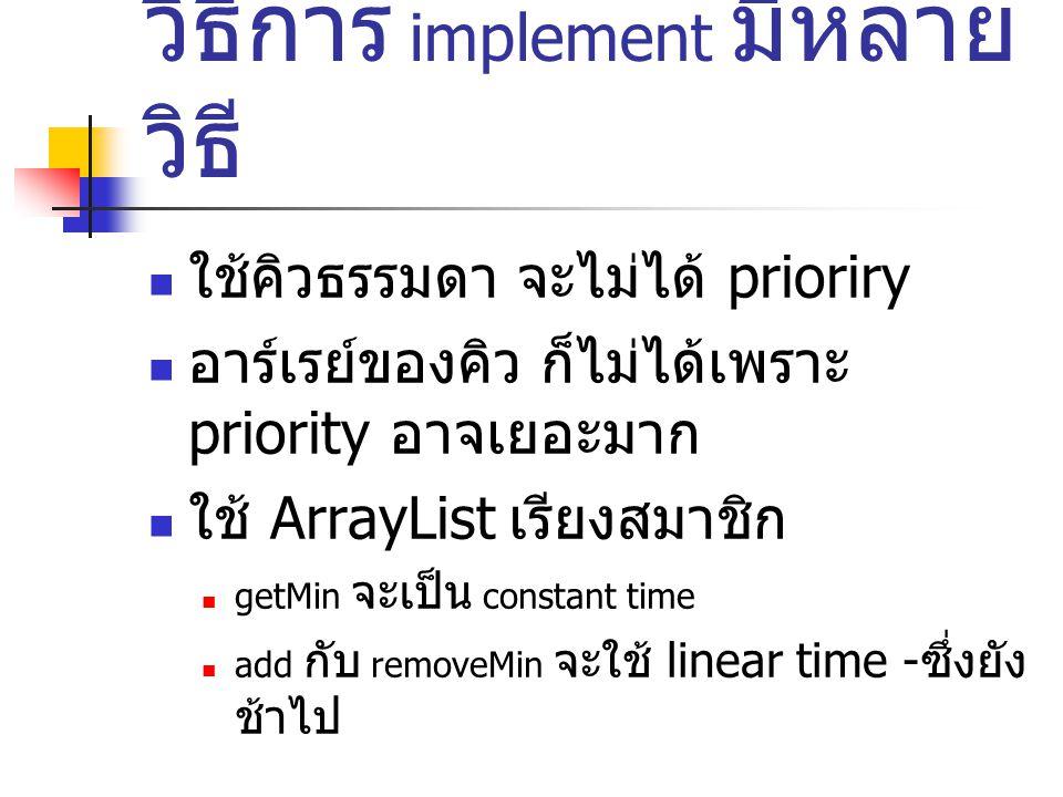 วิธีการ implement มีหลาย วิธี ใช้คิวธรรมดา จะไม่ได้ prioriry อาร์เรย์ของคิว ก็ไม่ได้เพราะ priority อาจเยอะมาก ใช้ ArrayList เรียงสมาชิก getMin จะเป็น