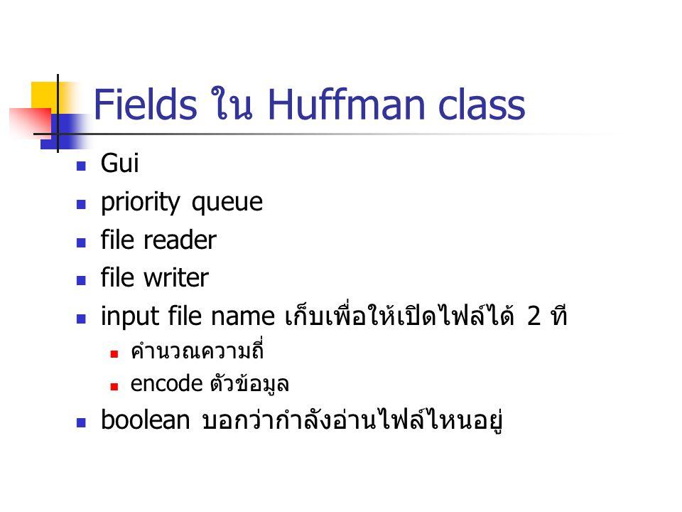 Fields ใน Huffman class Gui priority queue file reader file writer input file name เก็บเพื่อให้เปิดไฟล์ได้ 2 ที คำนวณความถี่ encode ตัวข้อมูล boolean