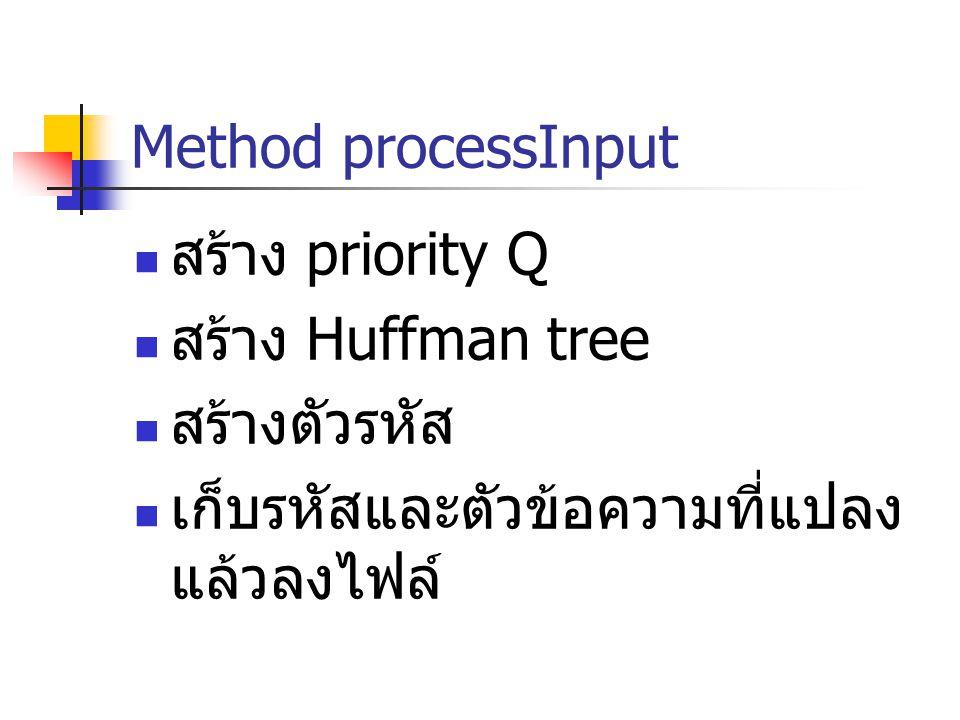 Method processInput สร้าง priority Q สร้าง Huffman tree สร้างตัวรหัส เก็บรหัสและตัวข้อความที่แปลง แล้วลงไฟล์