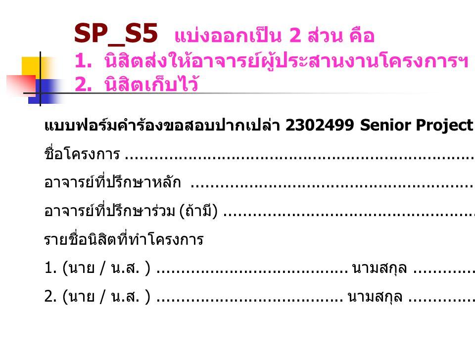 แบบฟอร์มคำร้องขอสอบปากเปล่า 2302499 Senior Project ชื่อโครงการ..........................................................................................................................