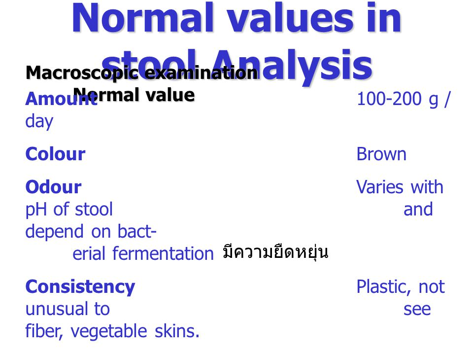 Normal values in stool Analysis Macroscopic examination Normal value Amount100-200 g / day ColourBrown OdourVaries with pH of stool and depend on bact