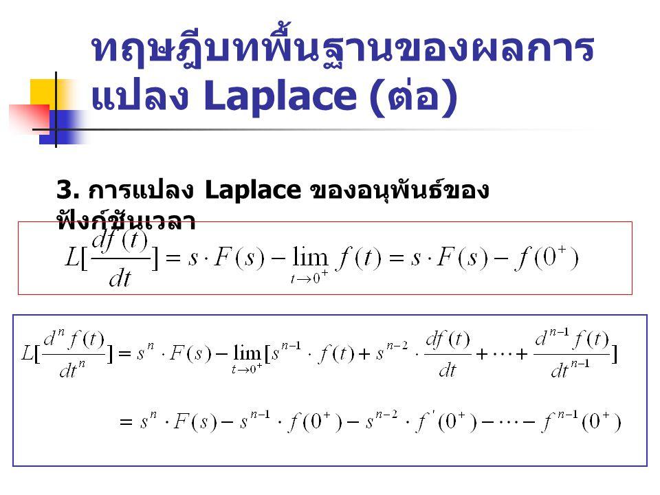 ทฤษฎีบทพื้นฐานของผลการ แปลง Laplace ( ต่อ ) 3. การแปลง Laplace ของอนุพันธ์ของ ฟังก์ชันเวลา