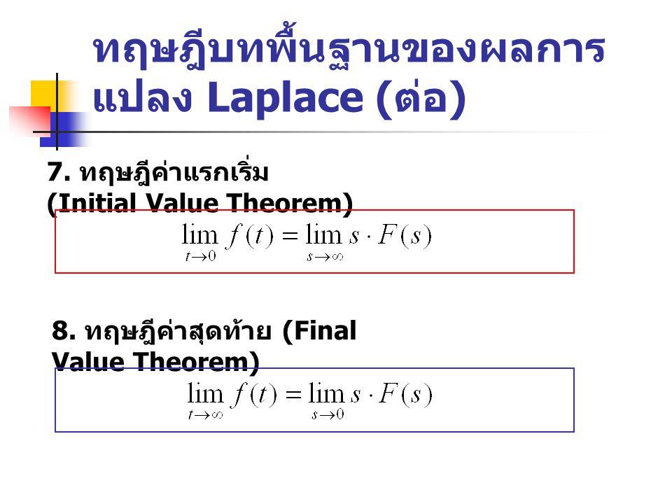 ทฤษฎีบทพื้นฐานของผลการ แปลง Laplace ( ต่อ ) 7.ทฤษฎีค่าแรกเริ่ม (Initial Value Theorem) 8.