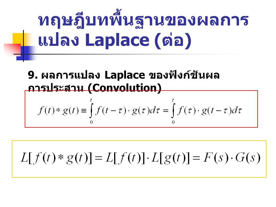 ทฤษฎีบทพื้นฐานของผลการ แปลง Laplace ( ต่อ ) 9.