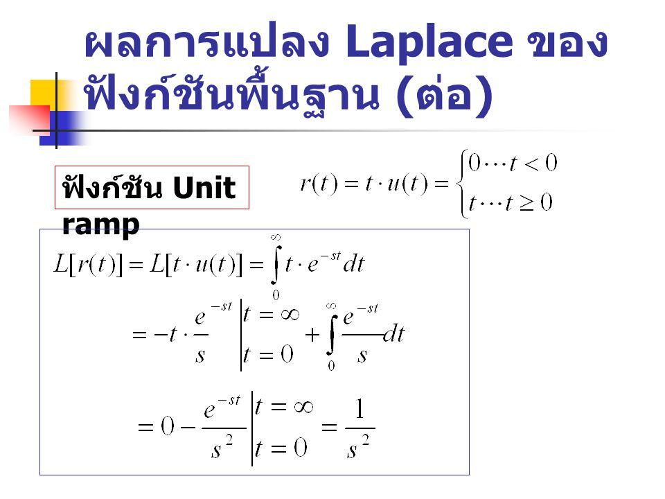 ผลการแปลง Laplace ของ ฟังก์ชันพื้นฐาน ( ต่อ ) ฟังก์ชัน Unit ramp