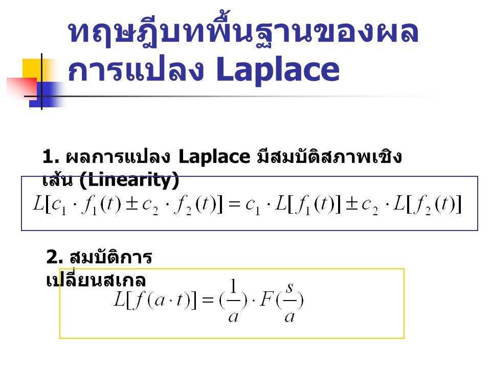 ทฤษฎีบทพื้นฐานของผล การแปลง Laplace 1.ผลการแปลง Laplace มีสมบัติสภาพเชิง เส้น (Linearity) 2.