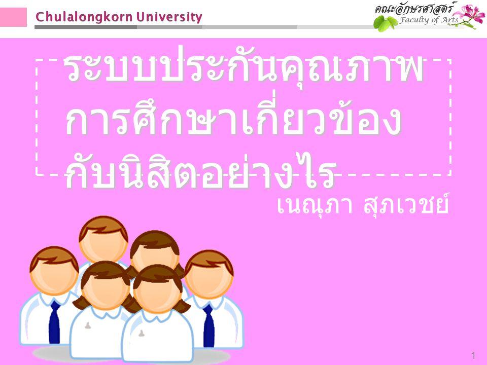 Chulalongkorn University 1 ระบบประกันคุณภาพ การศึกษาเกี่ยวข้อง กับนิสิตอย่างไร เนณุภา สุภเวชย์
