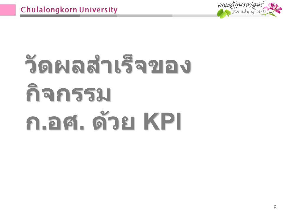 Chulalongkorn University วัดผลสำเร็จของ กิจกรรม ก. อศ. ด้วย KPI 8