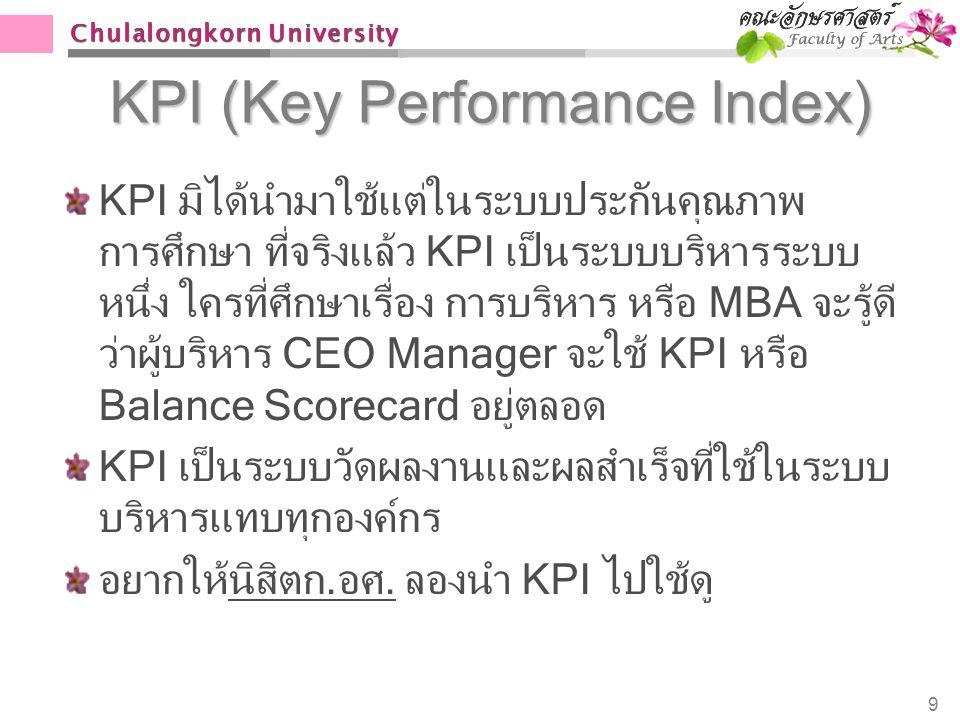 Chulalongkorn University KPI (Key Performance Index) KPI มิได้นำมาใช้แต่ในระบบประกันคุณภาพ การศึกษา ที่จริงแล้ว KPI เป็นระบบบริหารระบบ หนึ่ง ใครที่ศึก