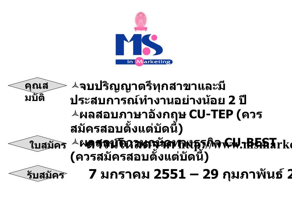 สำนักงานหลักสูตรวิทยาศาสตร มหาบัณฑิต สาขาวิชาการตลาด ชั้น 1 อาคารไชยยศสมบัติ 1 คณะ พาณิชยศาสตร์และการบัญชี จุฬาลงกรณ์มหาวิทยาลัย ถนนพญาไท กรุงเทพฯ 10330 โทรศัพท์ : 02-218-5791-2 โทรสาร : 02-218-5792 E-mail : msmkt@acc.chula.ac.thmsmkt@acc.chula.ac.th ติดต่อได้ที่