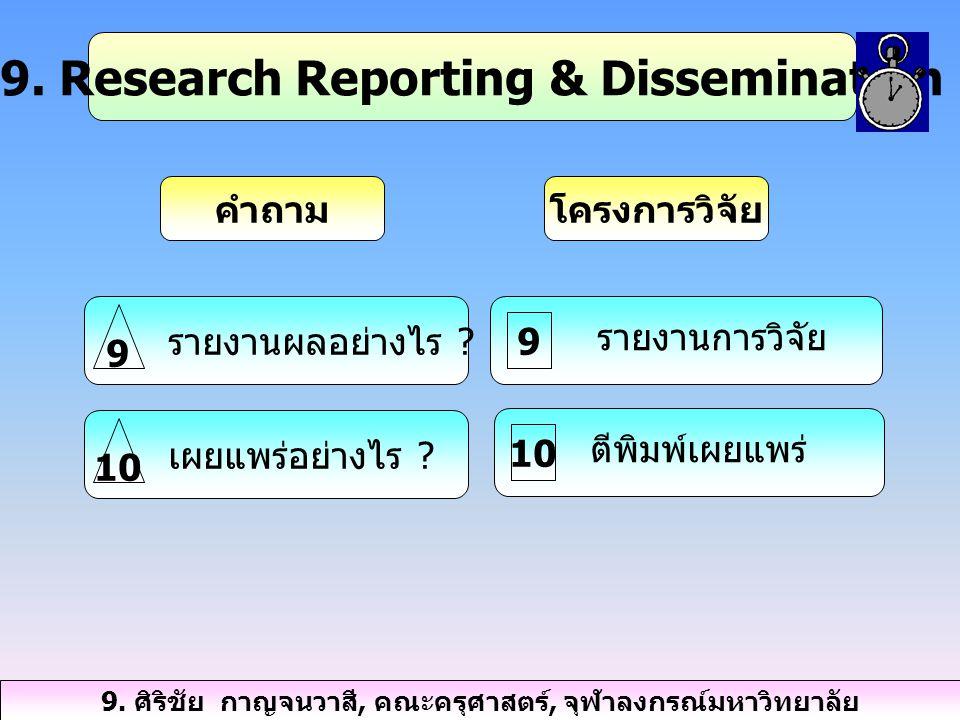 9.Research Reporting & Dissemination คำถามโครงการวิจัย รายงานผลอย่างไร .