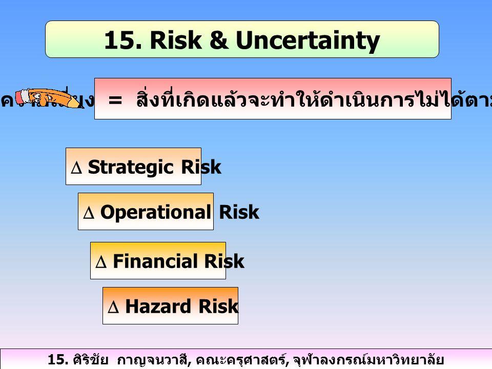 15. Risk & Uncertainty ความเสี่ยง = สิ่งที่เกิดแล้วจะทำให้ดำเนินการไม่ได้ตามแผน  Strategic Risk  Operational Risk  Financial Risk  Hazard Risk 15.