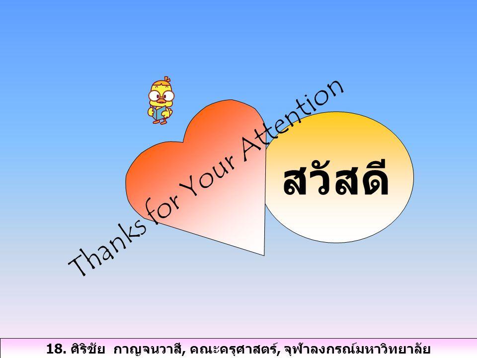 สวัสดี Thanks for Your Attention 18. ศิริชัย กาญจนวาสี, คณะครุศาสตร์, จุฬาลงกรณ์มหาวิทยาลัย