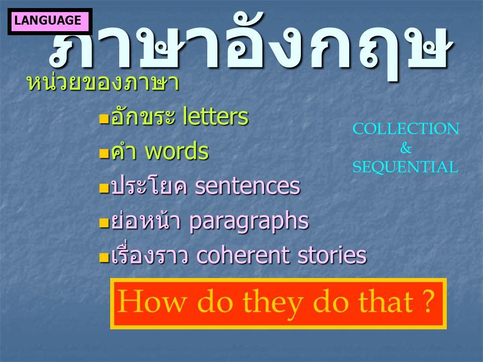 ภาษาอังกฤษ หน่วยของภาษา อักขระ letters อักขระ letters คำ words คำ words ประโยค sentences ประโยค sentences ย่อหน้า paragraphs ย่อหน้า paragraphs เรื่อง
