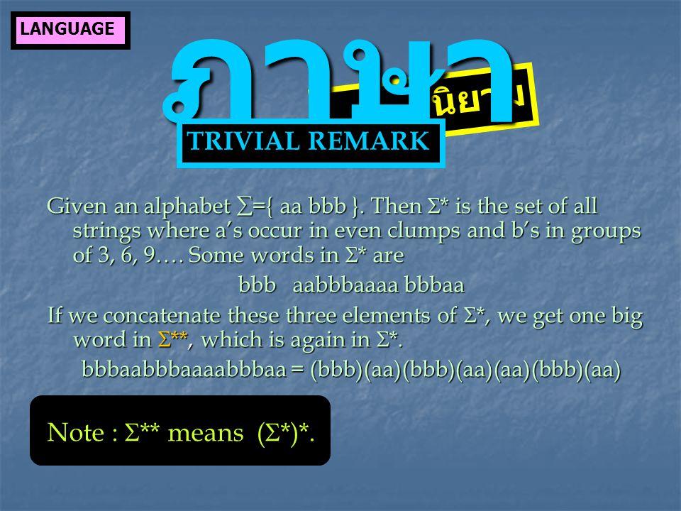 Given an alphabet  ={ aa bbb }.