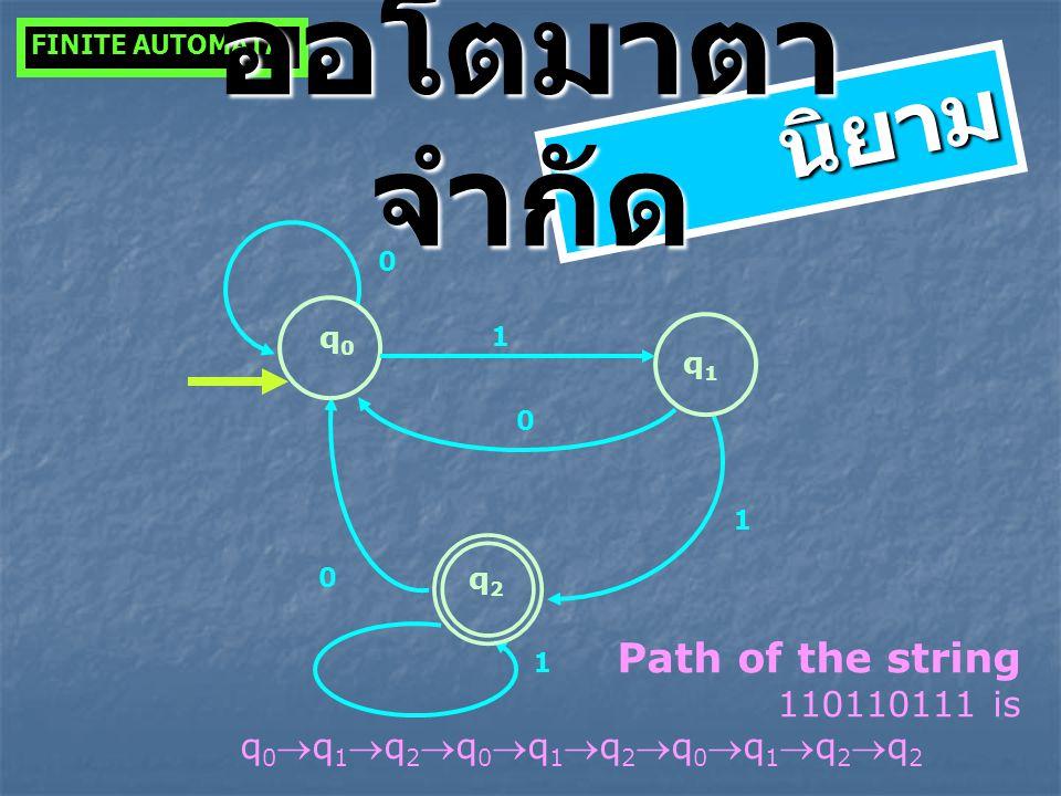 q0q0 q2q2 1 0 1 0 q1q1 1 0 Path of the string 110110111 is q 0 q 1 q 2 q 0 q 1 q 2 q 0 q 1 q 2 q 2 FINITE AUTOMATA นิยาม ออโตมาตา จำกัด