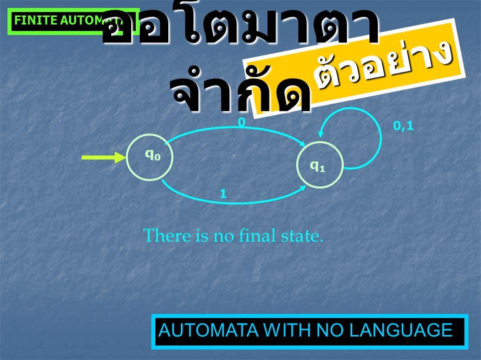 q0q0 0 q1q1 1 0,1 There is no final state. FINITE AUTOMATA ตัวอย่าง ออโตมาตา จำกัด AUTOMATA WITH NO LANGUAGE
