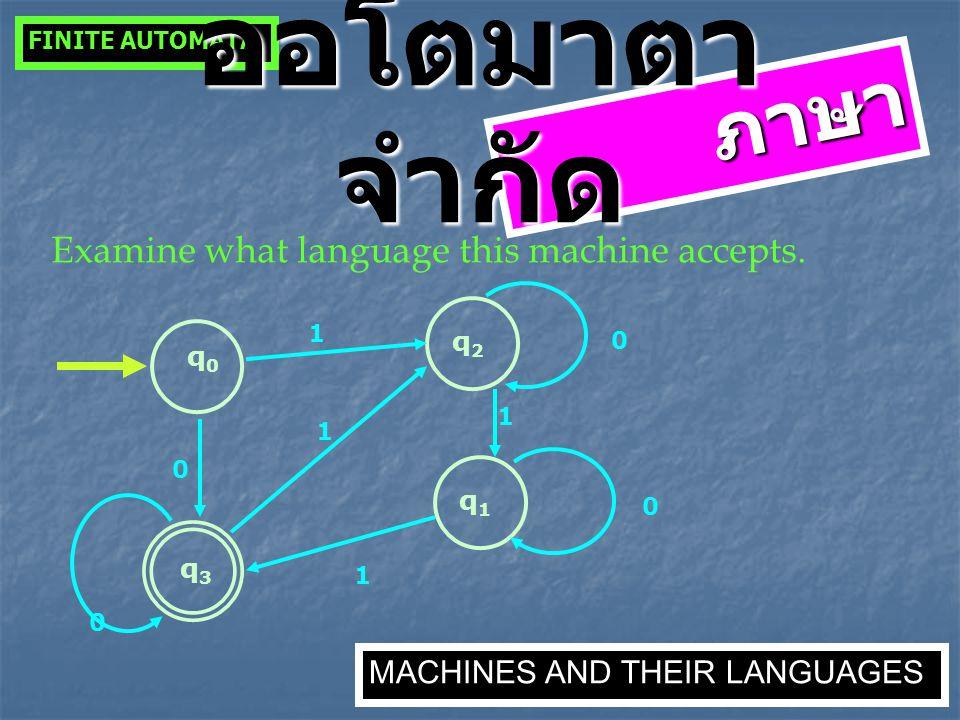 ภาษา Examine what language this machine accepts. q0q0 q3q3 0 q1q1 0 1 q2q2 1 1 1 0 0 FINITE AUTOMATA MACHINES AND THEIR LANGUAGES ออโตมาตา จำกัด
