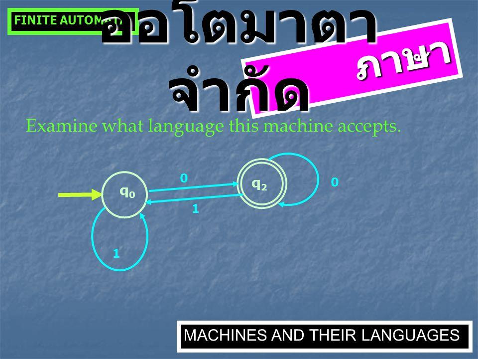 ภาษา Examine what language this machine accepts. q0q0 1 0 0 q2q2 1 FINITE AUTOMATA MACHINES AND THEIR LANGUAGES ออโตมาตา จำกัด