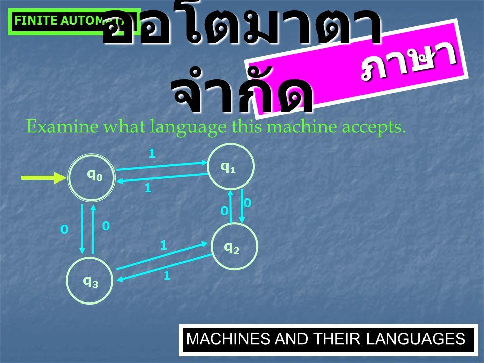 ภาษา Examine what language this machine accepts. q0q0 q3q3 0 q2q2 0 1 q1q1 1 0 0 1 1 FINITE AUTOMATA MACHINES AND THEIR LANGUAGES ออโตมาตา จำกัด