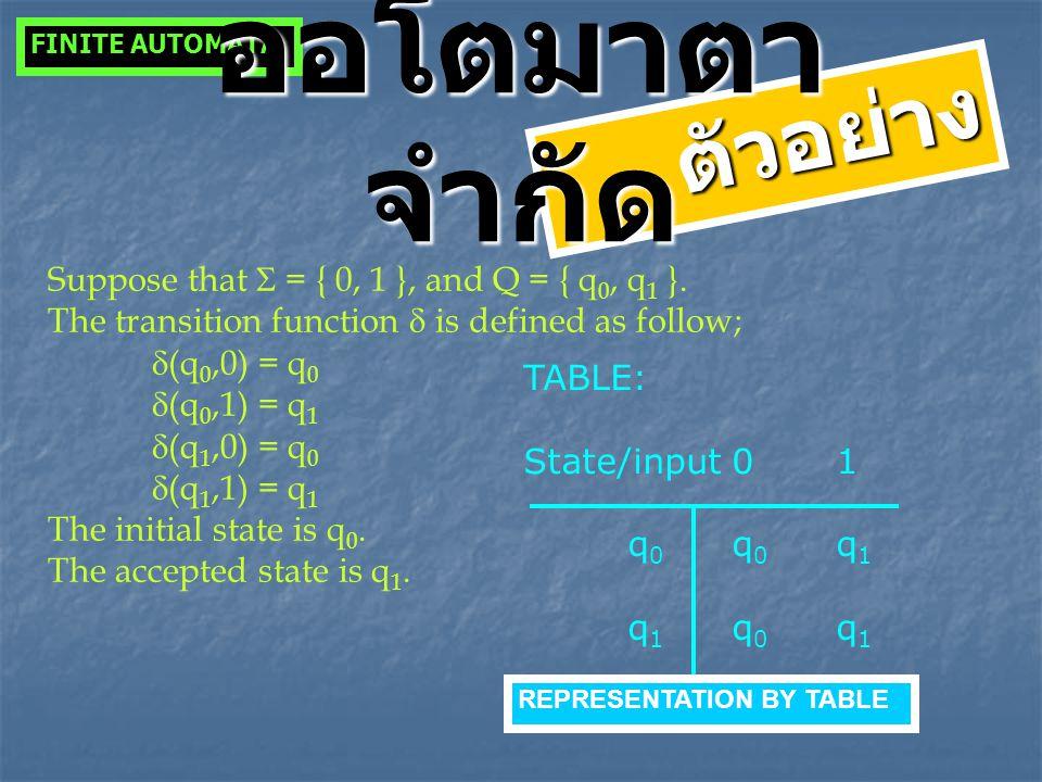 TABLE: State/input01 q 0 q 0 q 1 q 1 q 0 q 1 FINITE AUTOMATA ตัวอย่าง ออโตมาตา จำกัด REPRESENTATION BY TABLE Suppose that  = { 0, 1 }, and Q = { q 0,