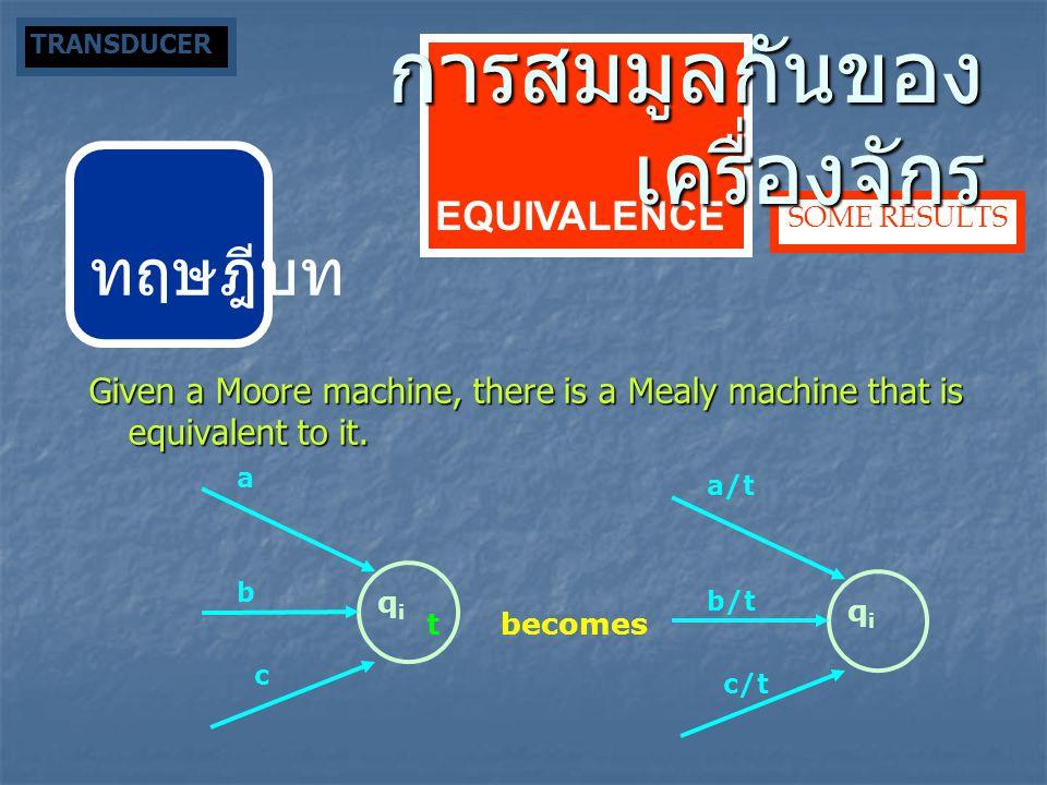 ทฤษฎีบท Given a Moore machine, there is a Mealy machine that is equivalent to it. SOME RESULTS qiqi c a b t qiqi c/t a/t b/t becomes EQUIVALENCE การสม