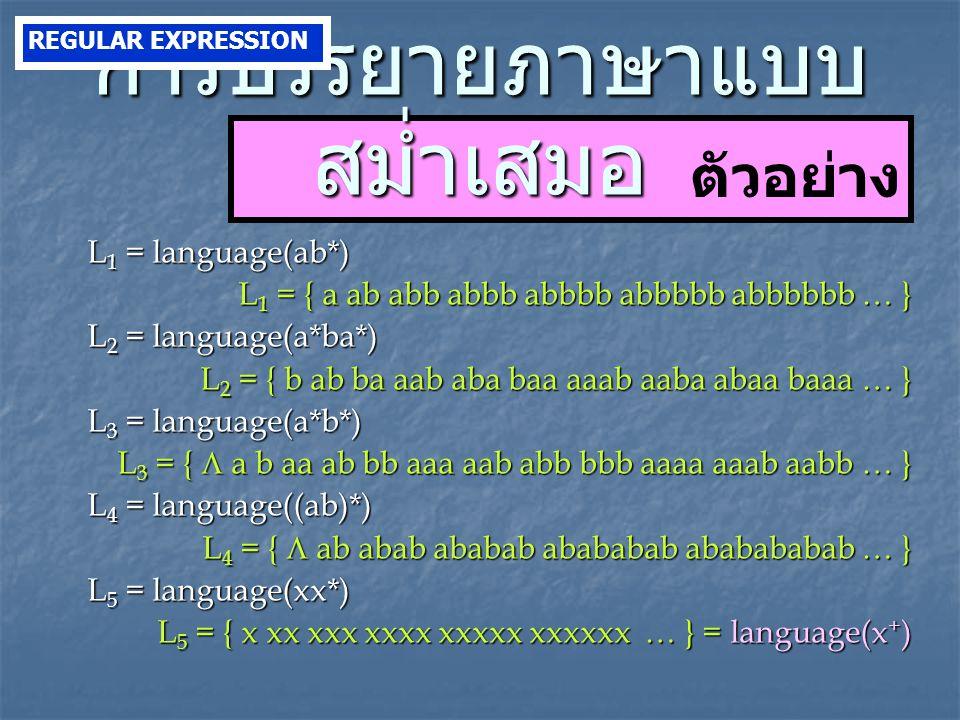 ตัวอย่าง L 1 = language(ab*) L 1 = { a ab abb abbb abbbb abbbbb abbbbbb … } L 2 = language(a*ba*) L 2 = { b ab ba aab aba baa aaab aaba abaa baaa … } L 3 = language(a*b*) L 3 = {  a b aa ab bb aaa aab abb bbb aaaa aaab aabb … } L 4 = language((ab)*) L 4 = {  ab abab ababab abababab ababababab … } L 5 = language(xx*) L 5 = { x xx xxx xxxx xxxxx xxxxxx … } = language(x + ) การบรรยายภาษาแบบ สม่ำเสมอ REGULAR EXPRESSION