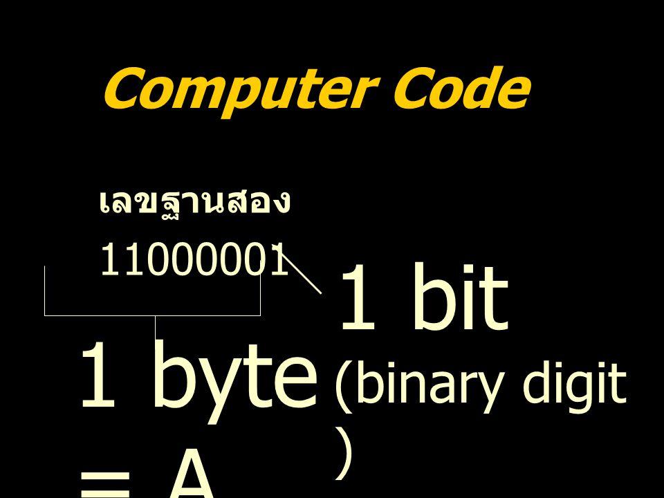 Computer Code เลขฐานสอง 11000001 1 bit (binary digit ) 1 byte = A