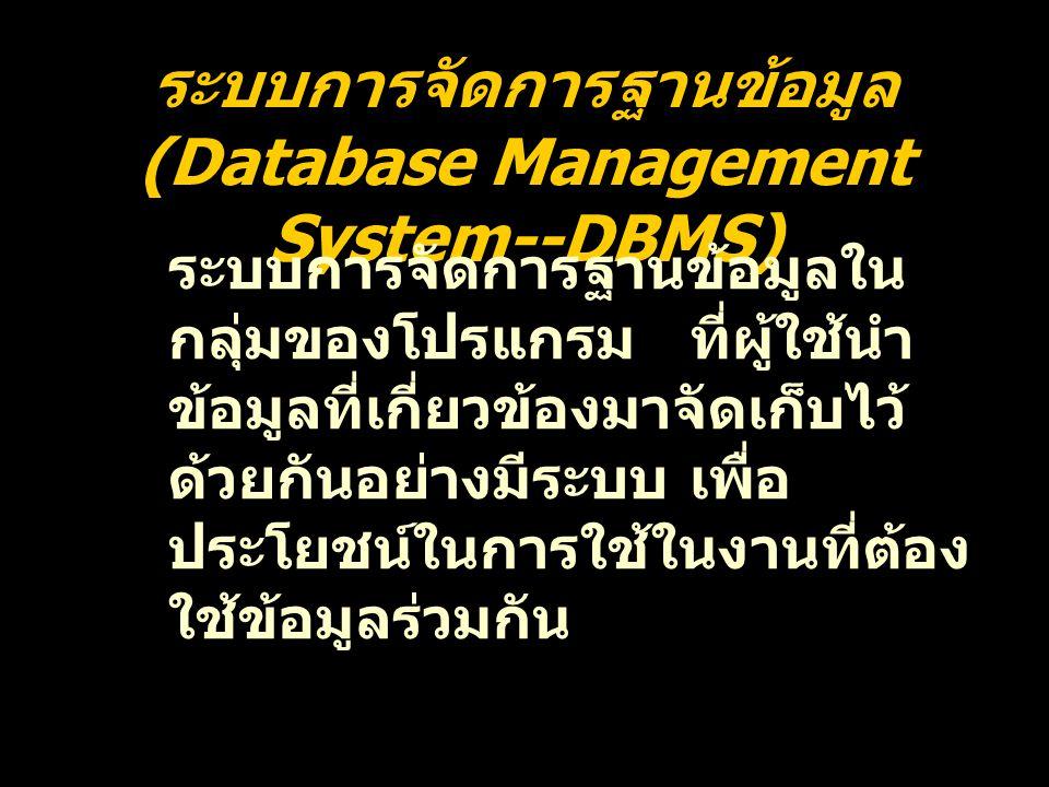 ระบบการจัดการฐานข้อมูล (Database Management System--DBMS) ระบบการจัดการฐานข้อมูลใน กลุ่มของโปรแกรม ที่ผู้ใช้นำ ข้อมูลที่เกี่ยวข้องมาจัดเก็บไว้ ด้วยกัน