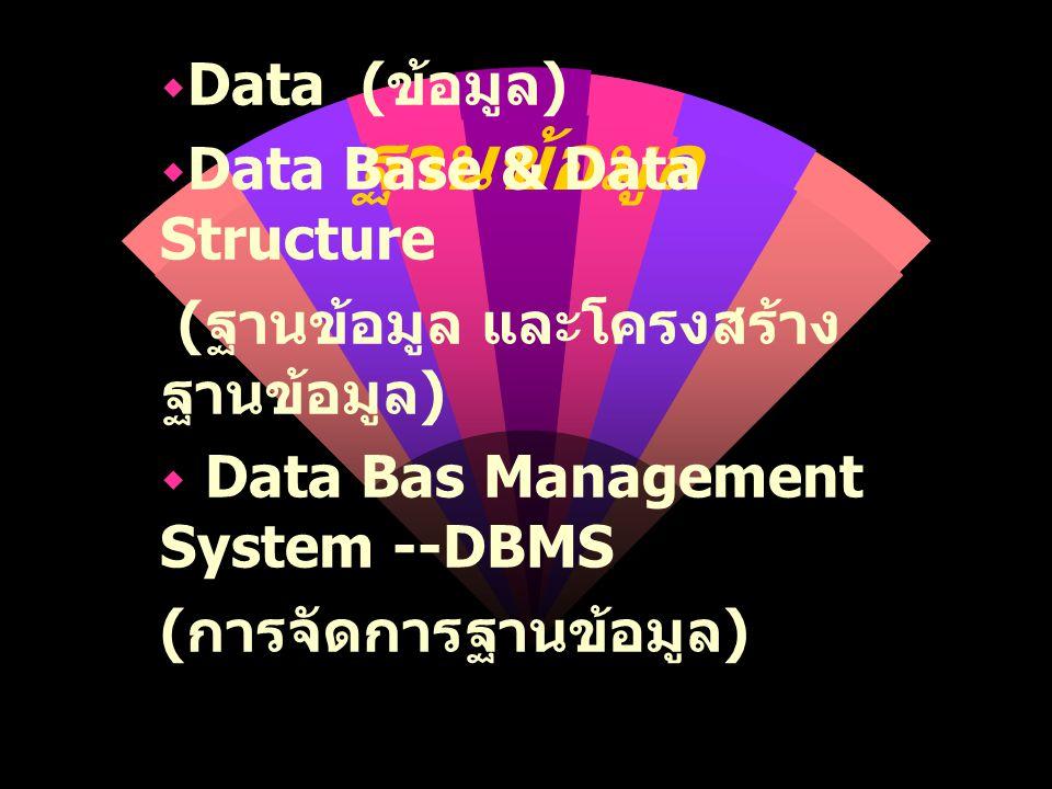 ฐานข้อมูล  Data ( ข้อมูล )  Data Base & Data Structure ( ฐานข้อมูล และโครงสร้าง ฐานข้อมูล )  Data Bas Management System --DBMS ( การจัดการฐานข้อมูล