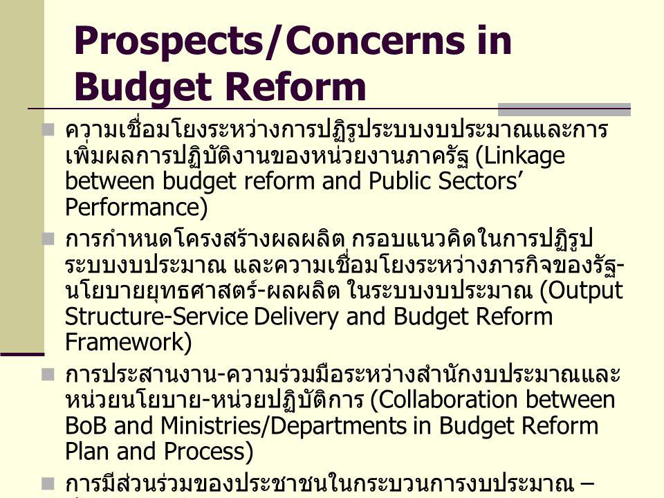 Prospects/Concerns in Budget Reform ความเชื่อมโยงระหว่างการปฏิรูประบบงบประมาณและการ เพิ่มผลการปฏิบัติงานของหน่วยงานภาครัฐ (Linkage between budget reform and Public Sectors' Performance) การกำหนดโครงสร้างผลผลิต กรอบแนวคิดในการปฏิรูป ระบบงบประมาณ และความเชื่อมโยงระหว่างภารกิจของรัฐ - นโยบายยุทธศาสตร์ - ผลผลิต ในระบบงบประมาณ (Output Structure-Service Delivery and Budget Reform Framework) การประสานงาน - ความร่วมมือระหว่างสำนักงบประมาณและ หน่วยนโยบาย - หน่วยปฏิบัติการ (Collaboration between BoB and Ministries/Departments in Budget Reform Plan and Process) การมีส่วนร่วมของประชาชนในกระบวนการงบประมาณ – ฝ่ายนิติบัญญัติ (Public Participation and Legislative Commitment in Budget Reform Process) การเพิ่มอิสระและดุลยพินิจของผู้บริหารหน่วยงาน (Management Discretion and Leadership (Macro- Micro))