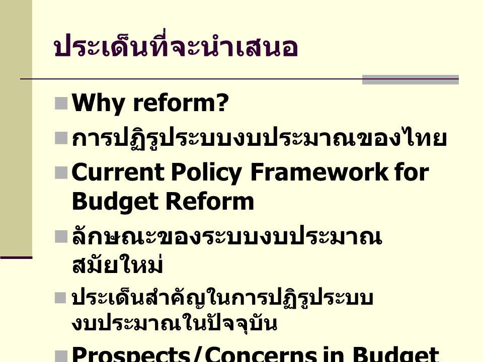 ประเด็นที่จะนำเสนอ Why reform? การปฏิรูประบบงบประมาณของไทย Current Policy Framework for Budget Reform ลักษณะของระบบงบประมาณ สมัยใหม่ ประเด็นสำคัญในการ