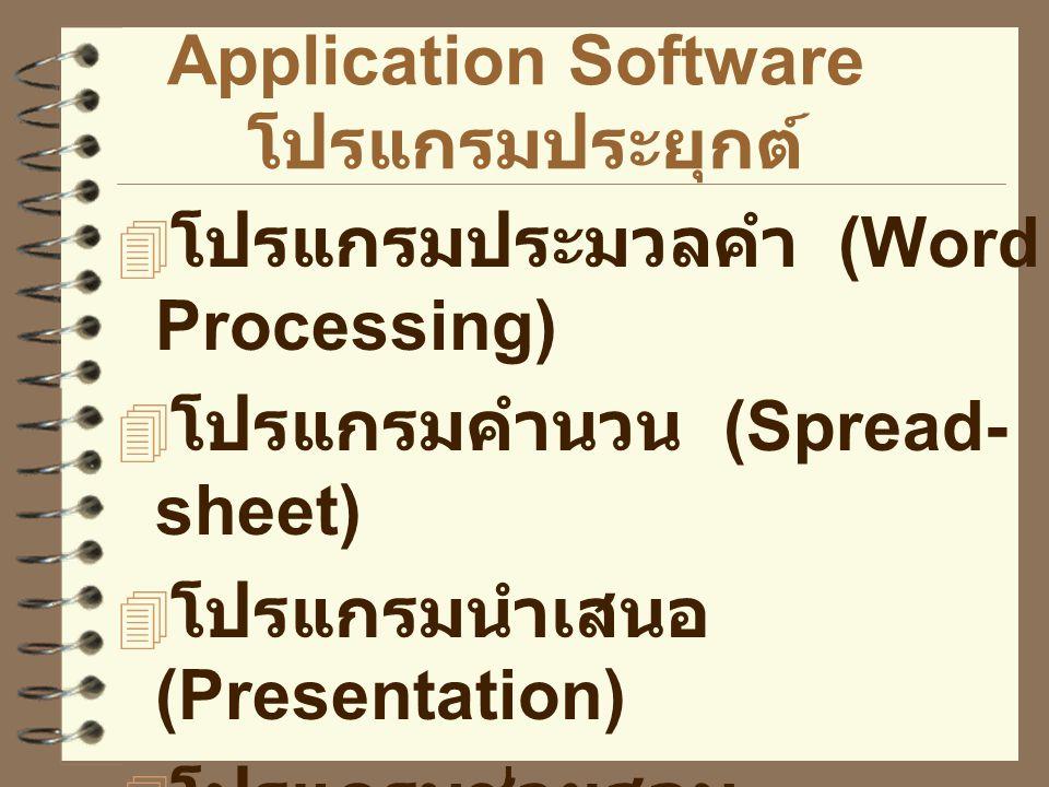  โปรแกรมประมวลคำ (Word Processing)  โปรแกรมคำนวน (Spread- sheet)  โปรแกรมนำเสนอ (Presentation)  โปรแกรมช่วยสอน (CAI--Computer-Assisted Instruction