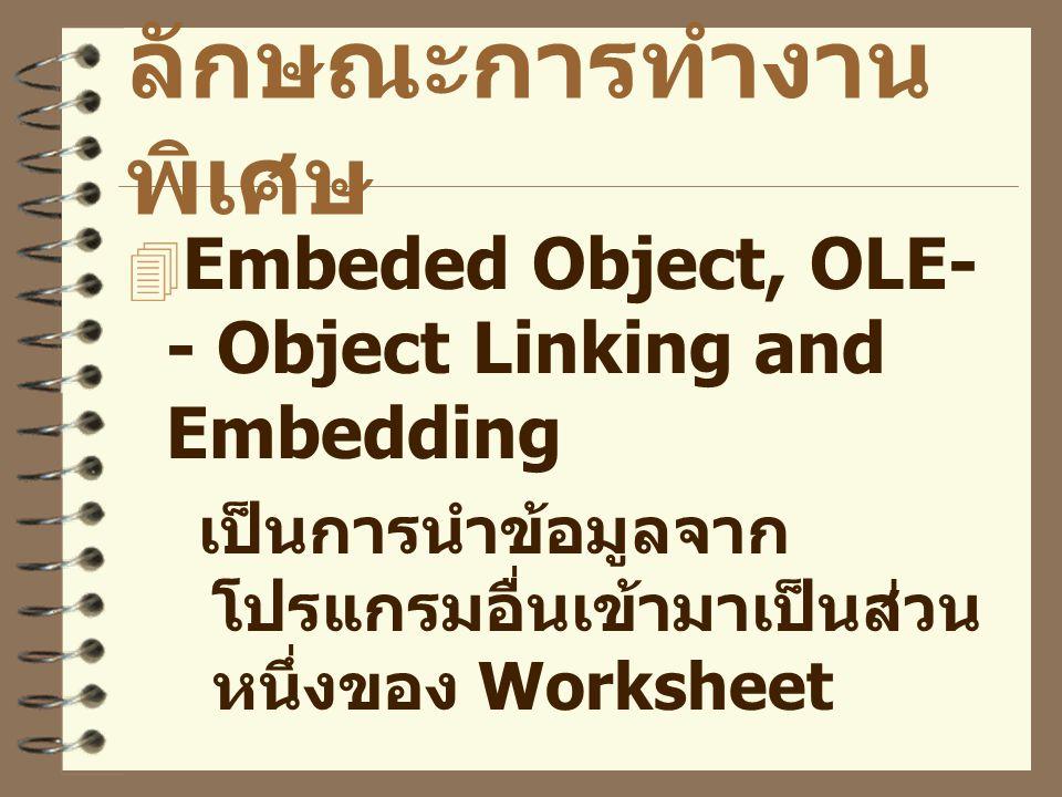 ลักษณะการทำงาน พิเศษ  Embeded Object, OLE- - Object Linking and Embedding เป็นการนำข้อมูลจาก โปรแกรมอื่นเข้ามาเป็นส่วน หนึ่งของ Worksheet