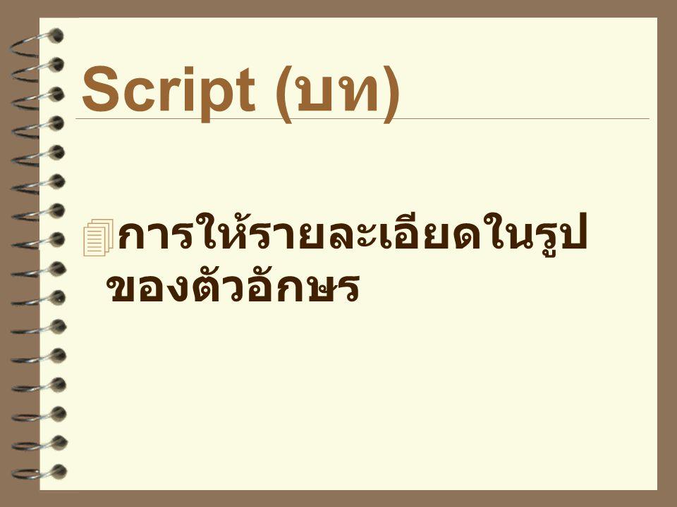 Script ( บท )  การให้รายละเอียดในรูป ของตัวอักษร