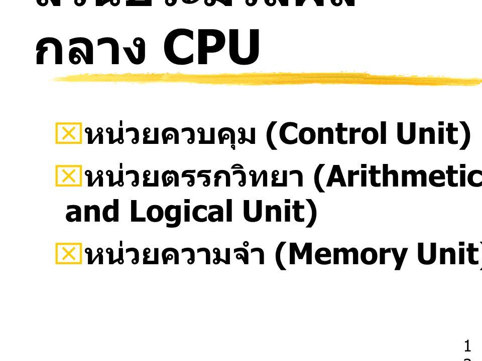ส่วนประมวลผล กลาง CPU  หน่วยควบคุม (Control Unit)  หน่วยตรรกวิทยา (Arithmetic and Logical Unit)  หน่วยความจำ (Memory Unit) 1313